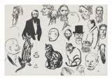 Sheet of Studies: Three Cats and Various Heads of Men Giclee Print by Théophile Steinlen