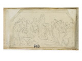 Carnet de croquis; tude: soldats jouant la tunique du Christ (?) Lmina gicle por Jean-Baptiste Carpeaux