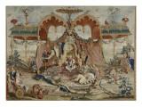 Tapisserie : L'audience du Prince, 1ère pièce de la tenture chinoise Giclée-Druck von Guy-Louis Vernansal