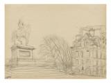 La statue équestre d'Henri IV (le cheval de bronze) et une des deux maisons de la place Dauphine Giclee Print