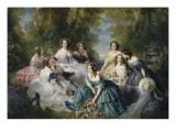L'impératrice Eugénie entourée des dames d'honneur du palais Giclée-tryk af Franz Xaver Winterhalter