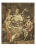 Tenture de l'Histoire d'Henri IV. Henri IV soupant chez le meunier Michaud. Giclée-Druck von Francois Andre Vincent