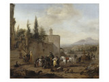 The Departure for the Hunt at the Foot of a Palace Giclee Print by Philips Wouwerman