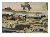 Tenchi Tenno ; Paysans en automne Giclee Print by Katsushika Hokusai