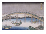 Le pont Tenma dans la province de Settsu Giclée-Druck von Katsushika Hokusai