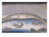 Le pont Tenma dans la province de Settsu Giclee Print by Katsushika Hokusai