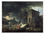 Claude Joseph Vernet - Le Midi, une tempête ou les laveuses Digitálně vytištěná reprodukce