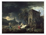 Le Midi, une tempête ou les laveuses Giclée-Druck von Claude Joseph Vernet
