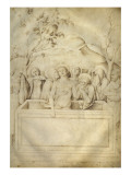 Trois croix et couvercle de sarcophage; déploration du Christ au Tombeau Giclee Print by Jacopo Bellini
