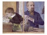 Le sculpteur Jean Paul Aubé (1837-1916) et son fils, Emile Reproduction procédé giclée par Paul Gauguin