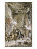 "The Two Pigeons. Sketch for ""Fables De La Fontaine"" Giclee Print by Gustave Moreau"