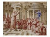 La Prédication de saint Paul aux Athéniens Giclée-tryk af Raffaello Sanzio