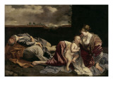 The Rest of the Holy Family on the Flight into Egypt Giclée-tryk af Orazio Gentileschi