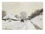 La Charrette. Route sous la neige à Honfleur, avec la ferme Saint Siméon Giclee Print by Claude Monet