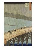 Le grand pont : averse soudaine à Ataké Giclee Print by Ando Hiroshige