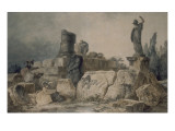 Two Young Women in Designing a Site of Ancient Ruins Giclee Print by Hubert Robert