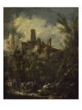 Le mûletier dit aussi paysage au château Giclée-tryk af Alessandro Magnasco