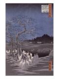 Les feux des renards à la veille de la Saint Sylvestre sous l'Arbre d'Ôji Giclee Print by Ando Hiroshige
