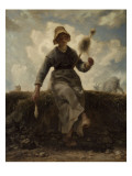 La Fileuse, chevri auvergnate Giclee Print by Jean-François Millet