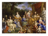 La Famille de Louis XIV en 1670 repr&#233;sent&#233;e en Travestis mythologiques Reproduction proc&#233;d&#233; gicl&#233;e par Jean Nocret