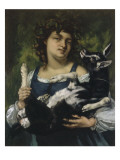 La villageoise au chevreau Giclee Print by Gustave Courbet