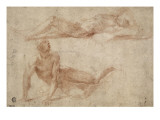 Two Naked Men Stretched, Perhaps to Study Crucified Giclee Print by Domenico Beccafumi