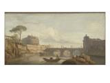 Le Pont et le château Saint-Ange à Rome Giclée-Druck von Claude Joseph Vernet