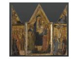 Triptyque. Panneau central : Vierge à l'Enfant avec saints Antoine et Jacques Giclee Print by de San Jacopo a Mucciana Maître