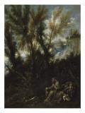 Deux ermites dans un bois dit à tort Paysage avec saint Jérôme Giclée-tryk af Alessandro Magnasco