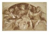 Trois anges musiciens dans une lunette Giclee Print by Baldassare Franceschini