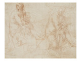 Two Studies of a Seated Nude Woman, Wiping Her Leg Giclee Print by Taddeo Zuccaro