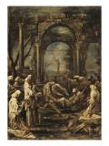 L'ensevelissement d'un moine Giclée-tryk af Alessandro Magnasco