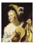 La joueuse de guitare Giclée-Druck von Gerrit Van Honthorst