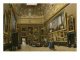 Le Salon Carré au Musée du Louvre Giclée-tryk af Giuseppe Castiglione