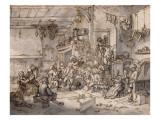 La fête des paysans Giclée-Druck von Adrien Van Ostade