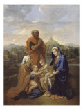 La Sainte Famille avec saint Jean, sainte Elisabeth et saint Joseph priant Lmina gicle por Nicolas Poussin