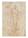 La Vierge et l'Enfant Jésus portés par des anges Lámina giclée por Massimo Stanzione