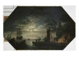 Les quatre parties du jour : la Nuit ou le clair de lune Giclée-Druck von Claude Joseph Vernet