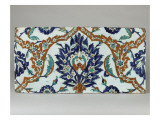 Two Tiles Decorated with Polychrome Stylized Plant Giclee Print