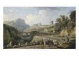 La construction d'un grand chemin Giclée-Druck von Claude-Joseph Vernet