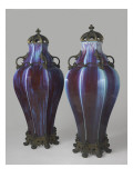 Two Vases of Auxerre Flamed, Lids and Bronze Mounts Giclee Print