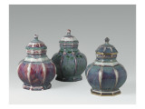 "Three Vases Tonkin ""Flamed, Including a Gold-Edged Giclee Print"