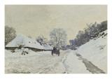 La charrette. Route sous la neige à Honfleur, avec la ferme de Saint-Siméon Giclee Print by Claude Monet