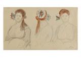 Trois études de têtes, tête de contadine Giclee Print by Denis Auguste Marie Raffet