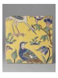 """Carreau aux oiseaux : une perdrix et un héron, décor """"cloisonné"""" émaillé entre deux glaçures Reproduction procédé giclée"""