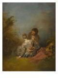 Le Faux pas Giclée-tryk af Jean Antoine Watteau