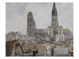 The Roofs of Old Rouen, Grey Weather, 1896 Cathedral Giclee Print by Camille Pissarro
