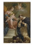 The Virgin and Child Giving the Rosary to St. Dominic Giclee Print by Etienne Parrocel