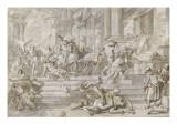 Le châtiment d'Héliodore Giclée-tryk af Francesco Solimena