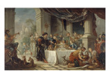 The Meals Sancho, Governor of the Island of Barataria Lámina giclée por Charles Joseph Natoire